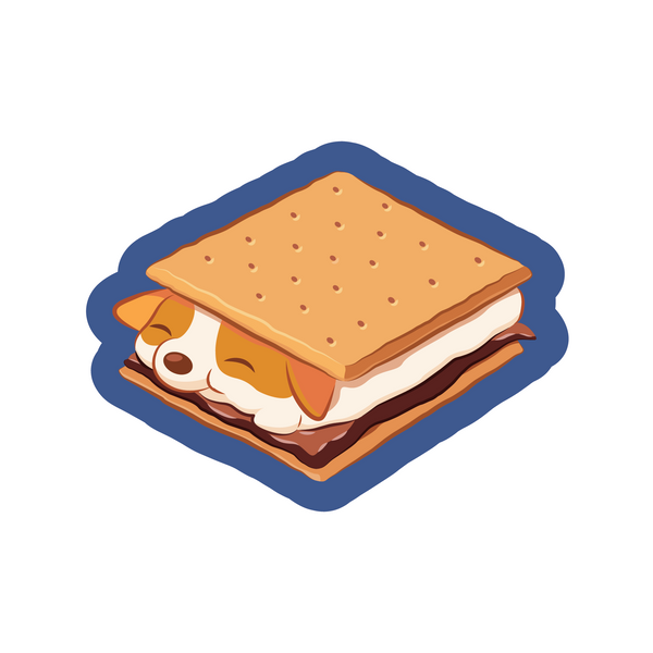 S'mores made with a corgi marshmallow cartoon sticker