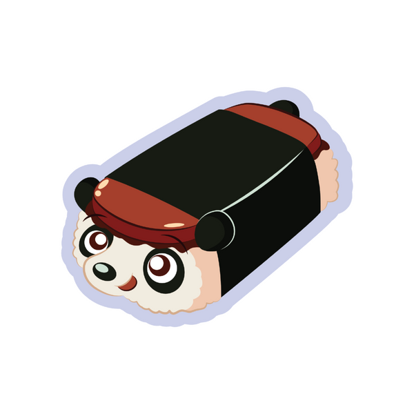 A spam musubi panda cartoon sticker