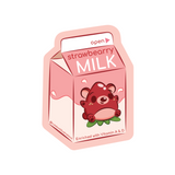 A strawberry milky cartoon with a strawberry bear on it cartoon drawing