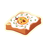 A piece of toast with a sunny side up egg puppy on top cartoon sticker