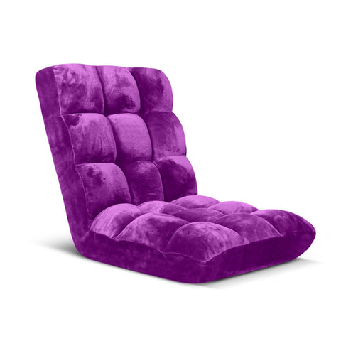 Floor Recliner Folding Lounge Sofa Futon Couch Folding Chair Cushion Purple