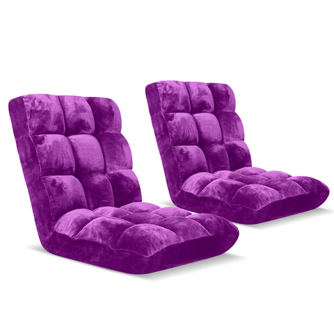 Floor Recliner Folding Lounge Sofa Futon Couch Folding Chair Cushion Purple x2