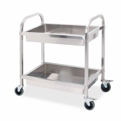 2 Tier 95x50x95cm Stainless Steel Kitchen Trolley Bowl Collect Service FoodCart Large