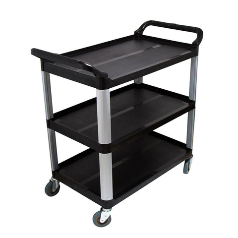 3 Tier Food 83.5x43x95cm Trolley Food Waste Cart Storage Mechanic Kitchen Black Small
