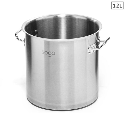 Stock Pot 12L Top Grade Thick Stainless Steel Stockpot 18/10 Without Lid