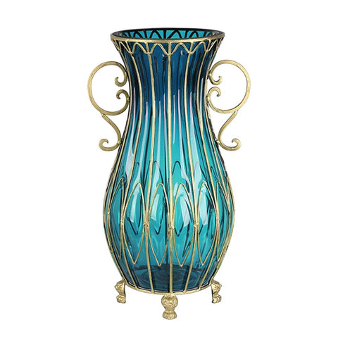 50cm Blue Glass Oval Floor Vase with Metal Flower Stand