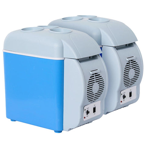 2X 7.5L Car Small Refrigerator Cooler Box 12V Mini Fridge Cooler Warmer Blue Color