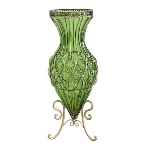 65cm Green Glass Tall Floor Vase with Metal Flower Stand