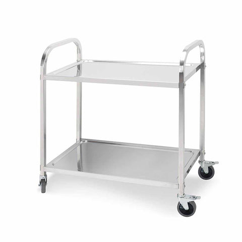 2 Tier 95x50x95cm Stainless Steel Kitchen Dining Food Cart Trolley Utility Large