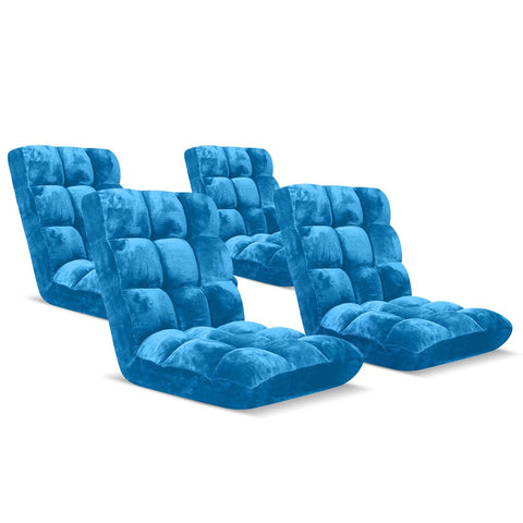 Floor Recliner Folding Lounge Sofa Futon Couch Folding Chair Cushion Blue x4