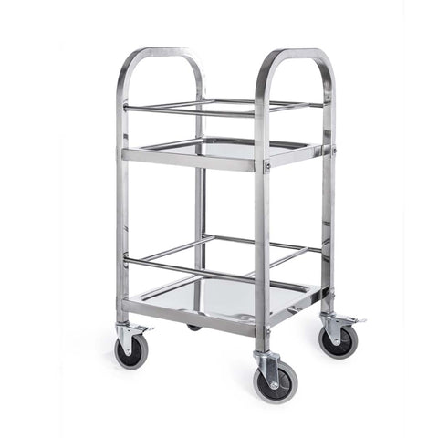 2 Tier 500x500x950 Stainless Steel Square Tube Drink Wine Food Utility Cart