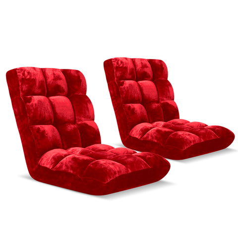 Floor Recliner Folding Lounge Sofa Futon Couch Folding Chair Cushion Red x2