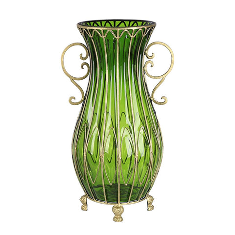 50cm Green Glass Oval Floor Vase with Metal Flower Stand