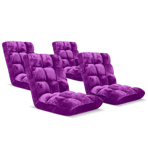Floor Recliner Folding Lounge Sofa Futon Couch Folding Chair Cushion Purple x4