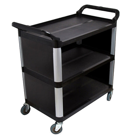 3 Tier Covered Food Trolley Food Waste Cart Storage Mechanic Kitchen Black