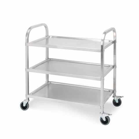 3 Tier 95x50x95cm Stainless Steel Kitchen Dinning Food Cart Trolley Utility Size Large