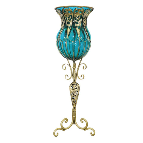 85cm Blue Glass Floor Vase with Tall Metal Flower Stand