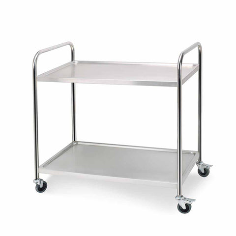 2 Tier 81x46x85cm Stainless Steel Kitchen Dining Food Cart Trolley Utility Round Small