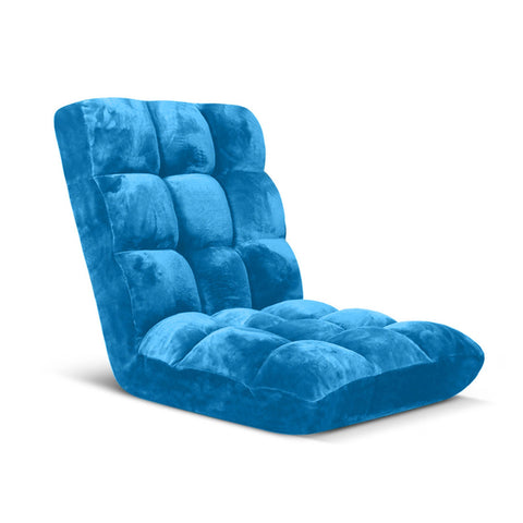 Floor Recliner Folding Lounge Sofa Futon Couch Folding Chair Cushion Blue