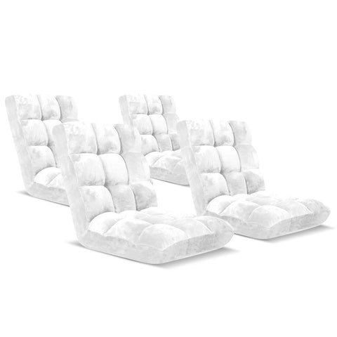 Floor Recliner Folding Lounge Sofa Futon Couch Folding Chair Cushion White x4