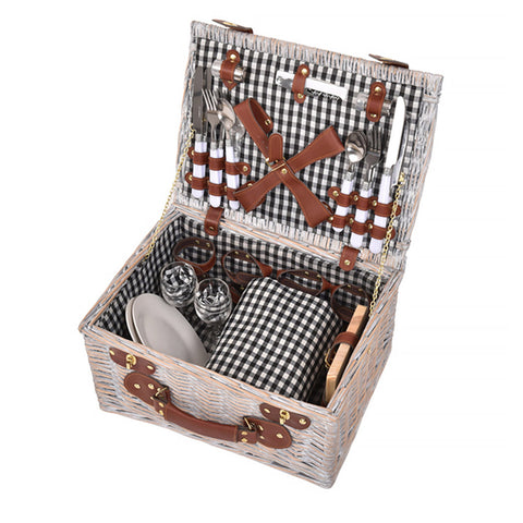 4 Person Picnic Basket Baskets Set Outdoor Blanket Deluxe Wicker Gift Storage