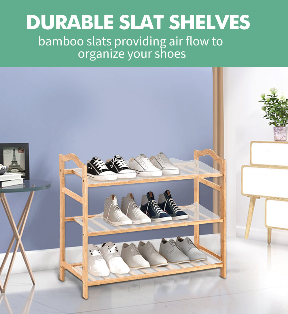 Levede Bamboo Shoe Rack Storage Wooden Organizer Shelf Stand 3 Tiers Layers 70cm