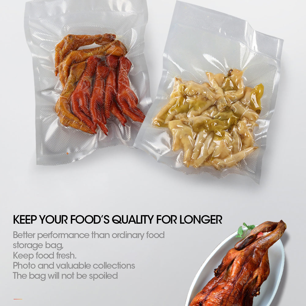200x Commercial Grade Vacuum Sealer Food Sealing Storage Bags Saver 16.5x25cm