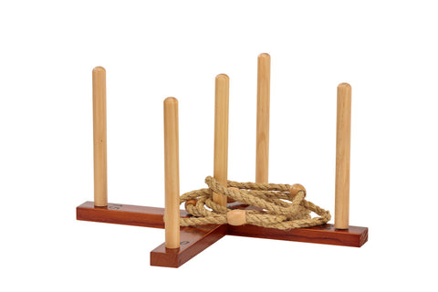 Outdoor Wooden Set Rope Ring Toss Quoits Game