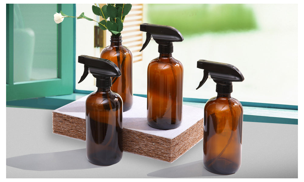 4x 500ml Amber Glass Spray Bottles Trigger Water Sprayer Aromatherapy Dispenser