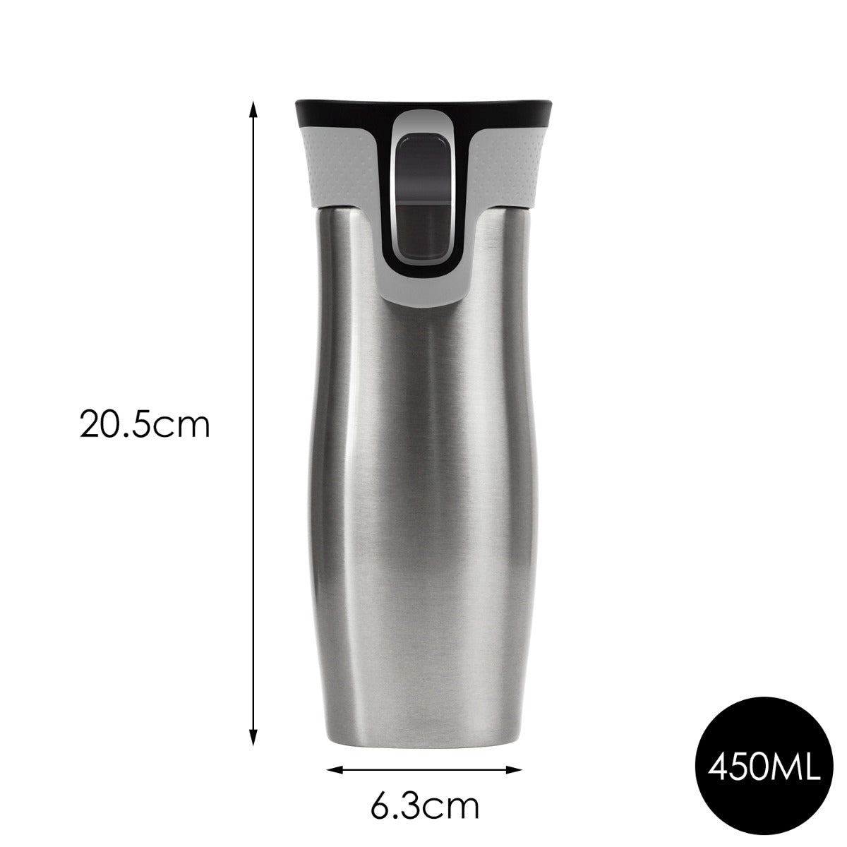 473ml 16OZ Thermal Coffee Hot Water Travel Mug Drink Bottle Flask Autoseal Silver