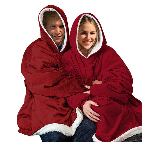 2 Pcs DreamZ Plush Fleece Sherpa Hoodie Sweatshirt Huggle Blanket Pajamas Red