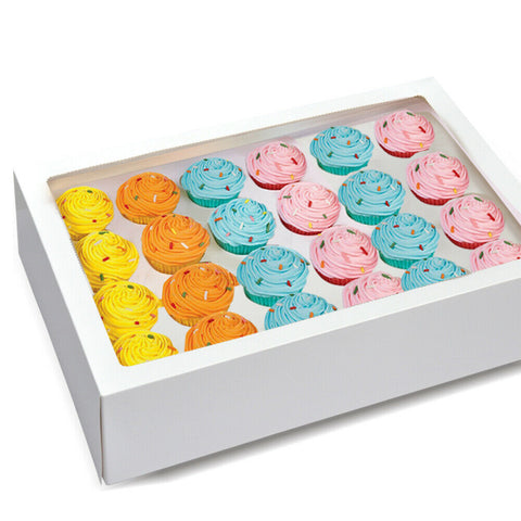 24 Holes Cupcake Boxes 5/20 Pk Window Face With Inserts Cake Boxes Board