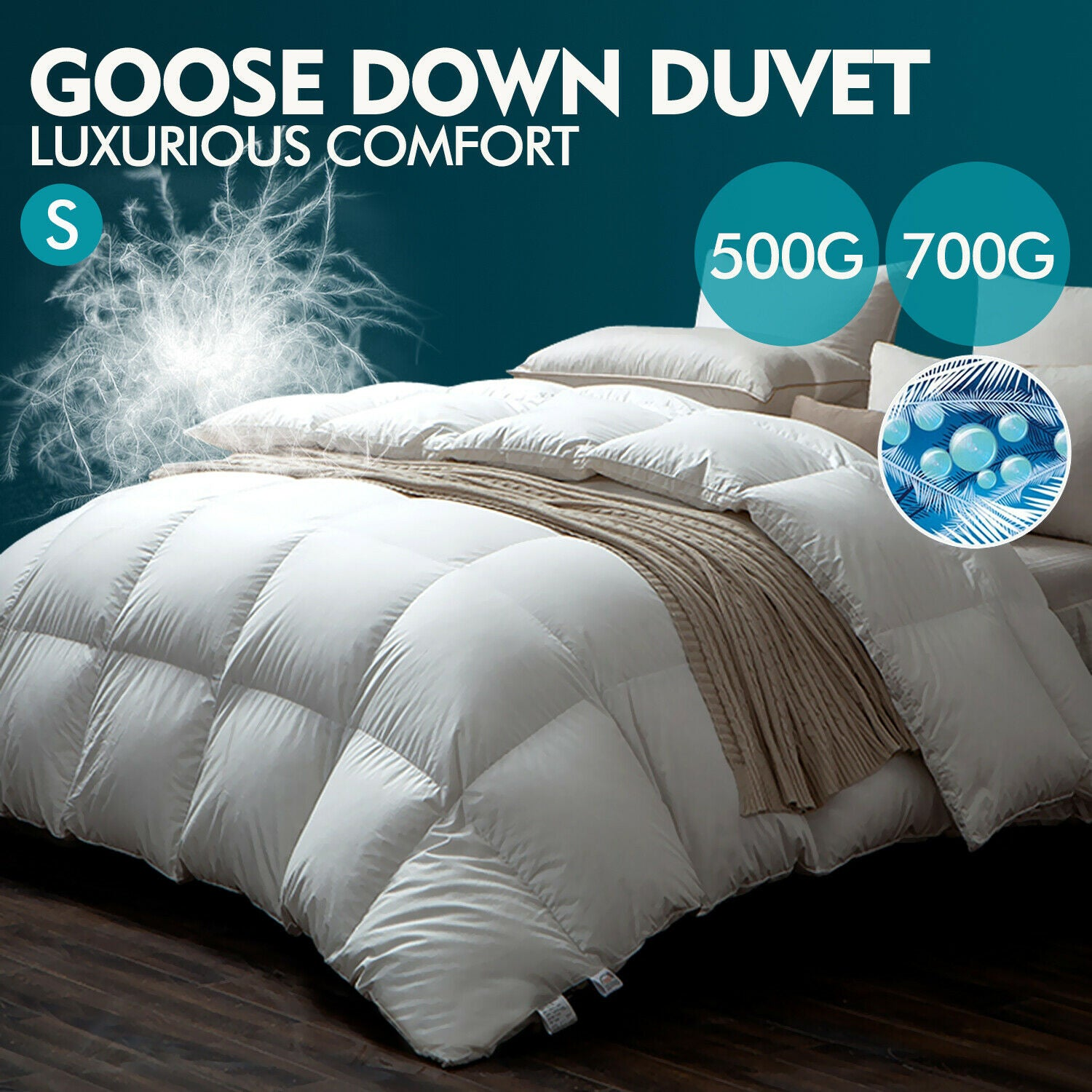 DreamZ 700GSM All Season Goose Down Feather Filling Duvet in Single Size