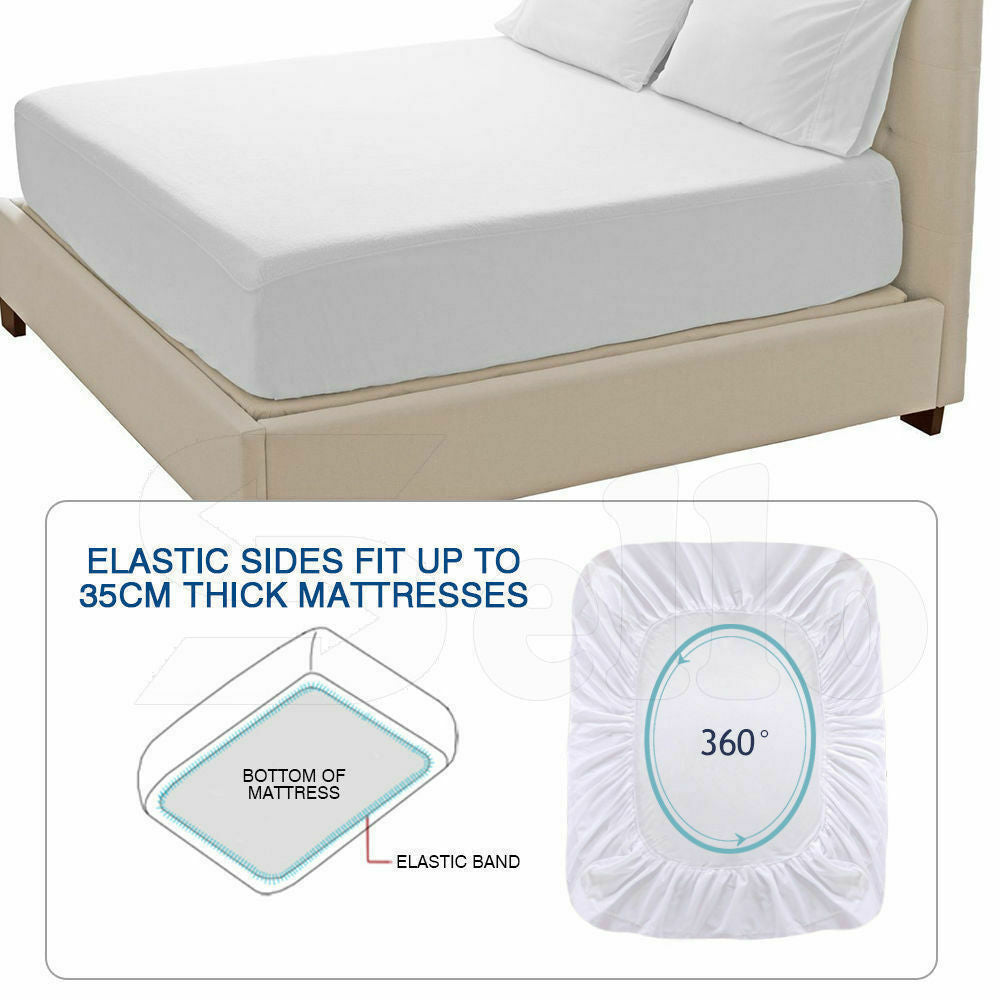 DreamZ Terry Cotton Fully Fitted Waterproof Mattress Protector in Queen Size