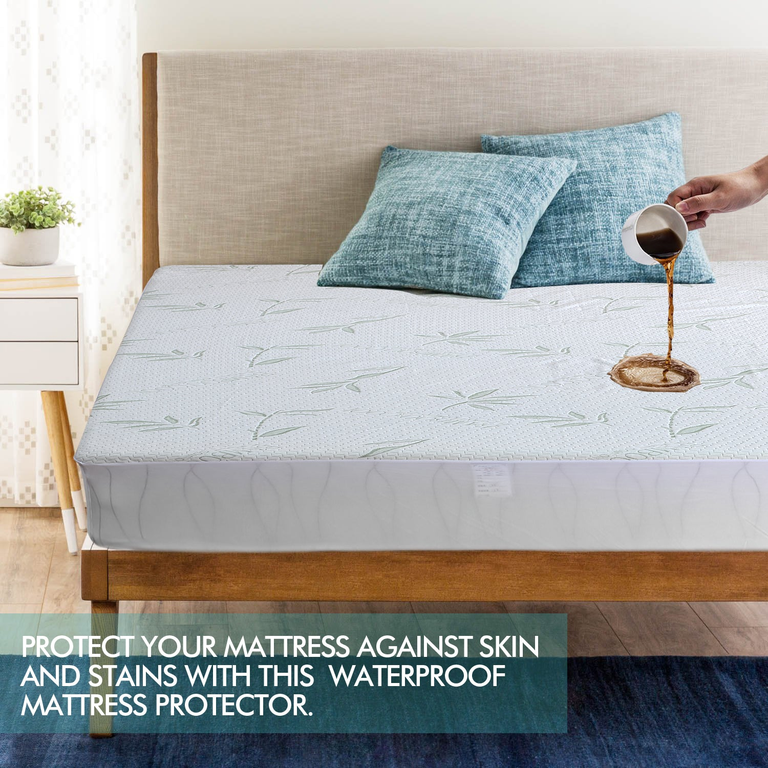 DreamZ Fitted Waterproof Mattress Protector with Bamboo Fibre Cover Single Size