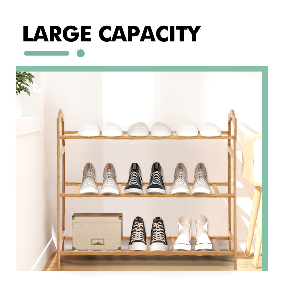 Levede Bamboo Shoe Rack Storage Wooden Organizer Shelf Stand 3 Tiers Layers 80cm