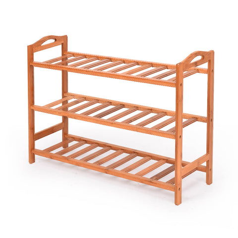 2x Levede 3 Tier Bamboo Shoe Rack Shoes Organizer Storage Shelves Stand Shelf