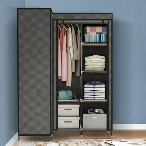 Levede Portable Corner Clothes Closet Wardrobe Storage Organiser Rack Unit Shelf