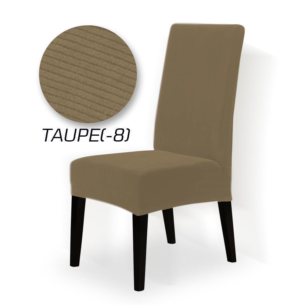 8x Stretch Corduroy Dining Chair Cover Seat Cover Protector Slipcovers Taupe