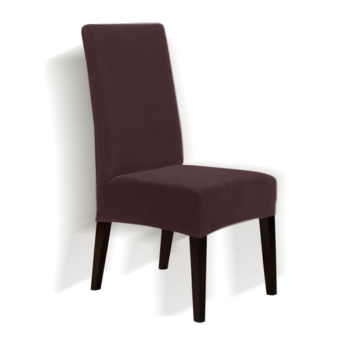 8x Stretch Corduroy Dining Chair Cover Seat Cover Protector Slipcovers Chocolate
