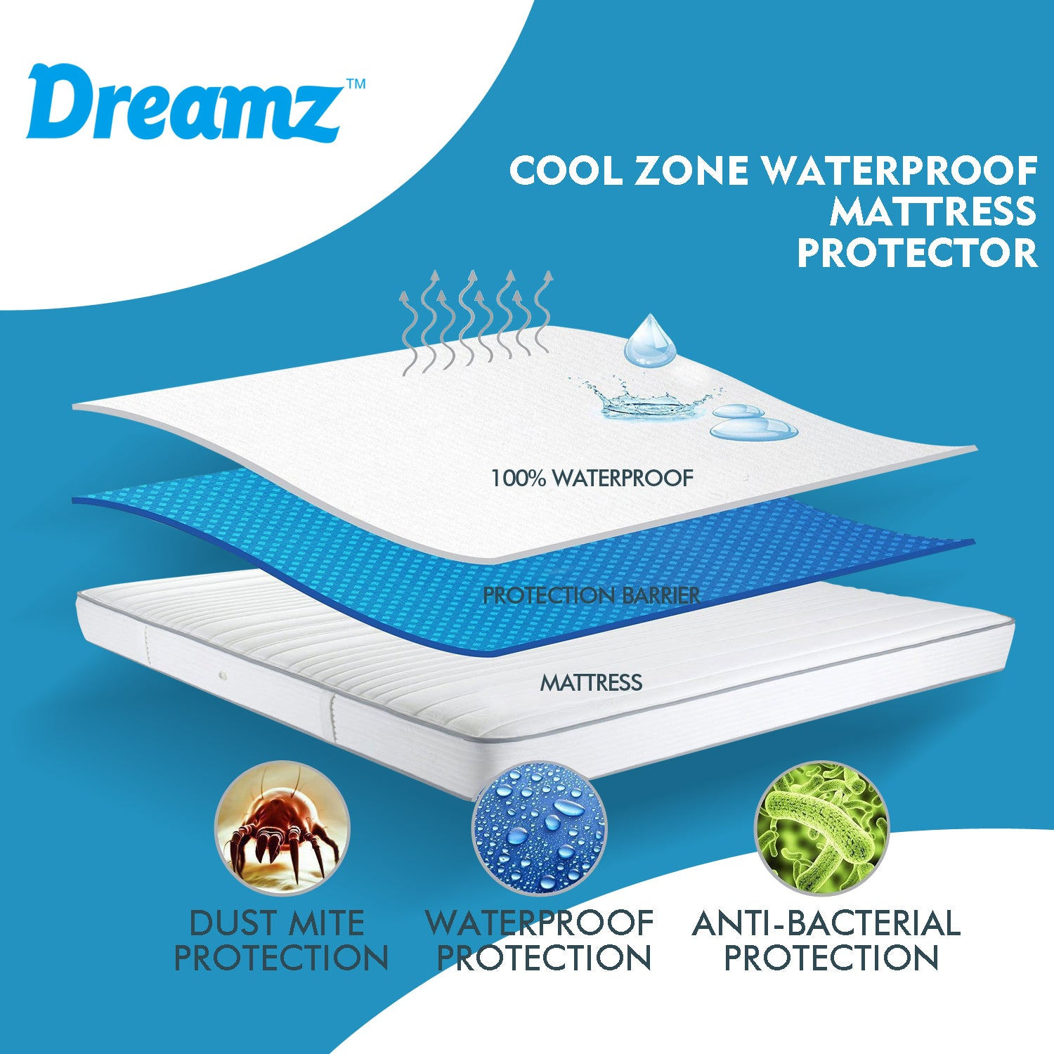 DreamZ Mattress Protector Topper Polyester Cool Fitted Cover Waterproof Queen