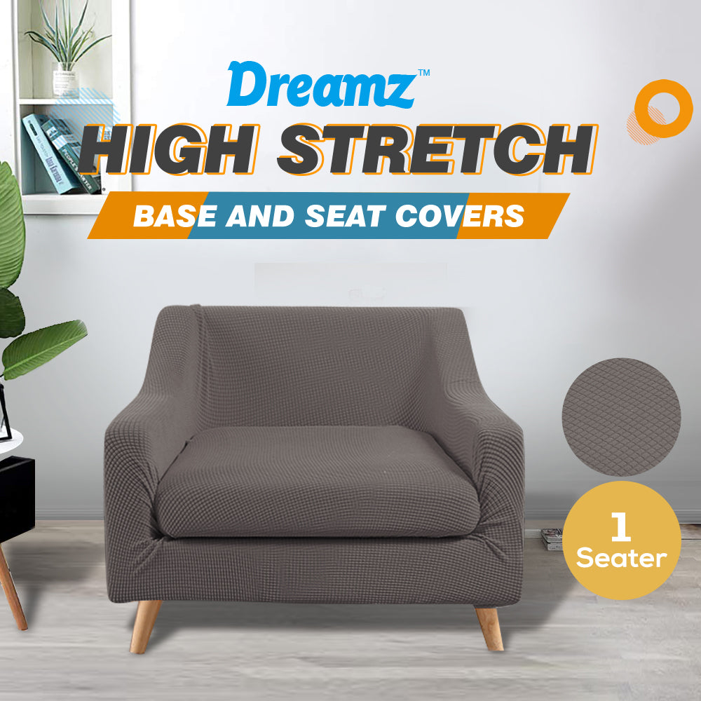 DreamZ Couch Sofa Seat Covers Stretch Protectors Slipcovers 1 Seater Chocolate