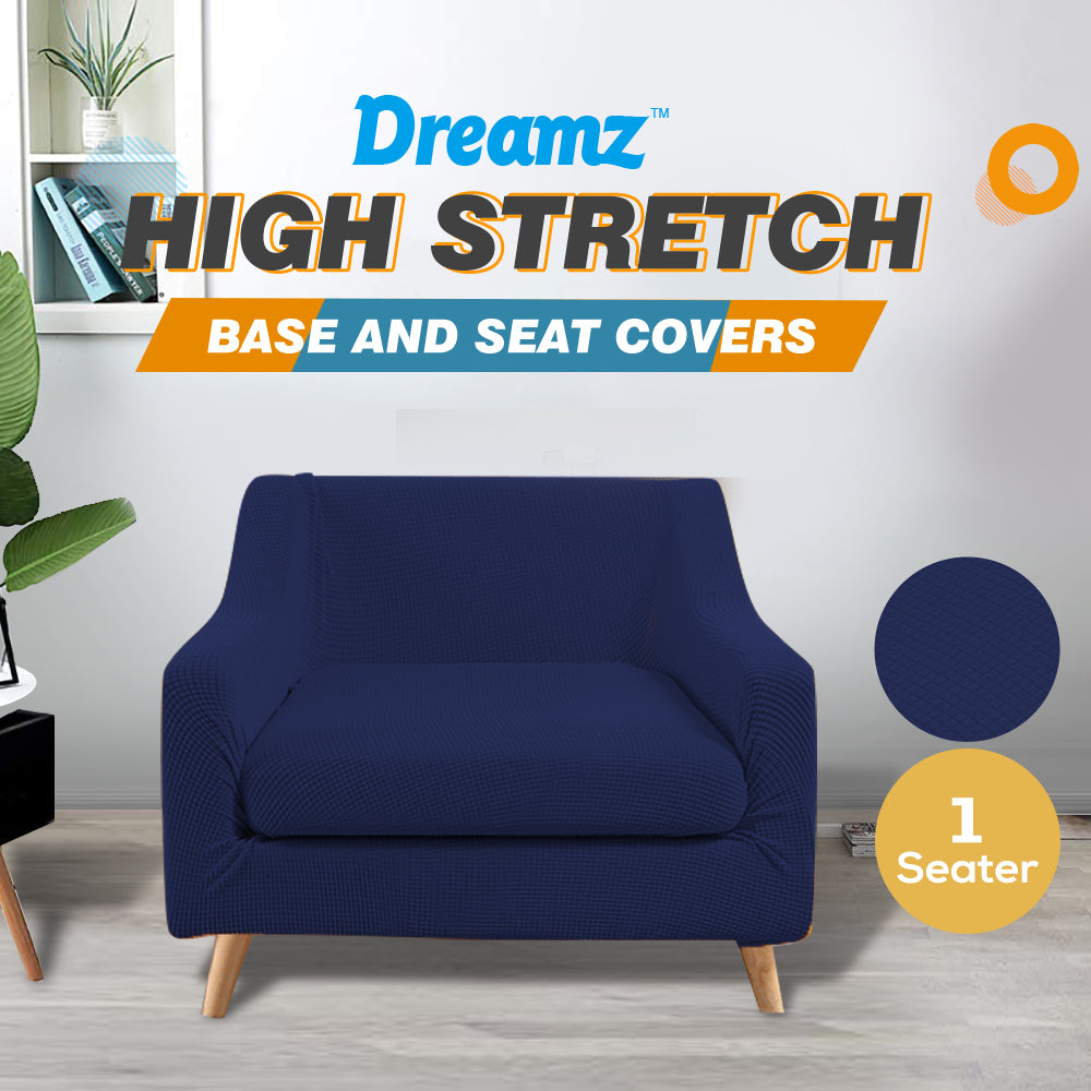 DreamZ Couch Sofa Seat Covers Stretch Protectors Slipcovers 1 Seater Navy