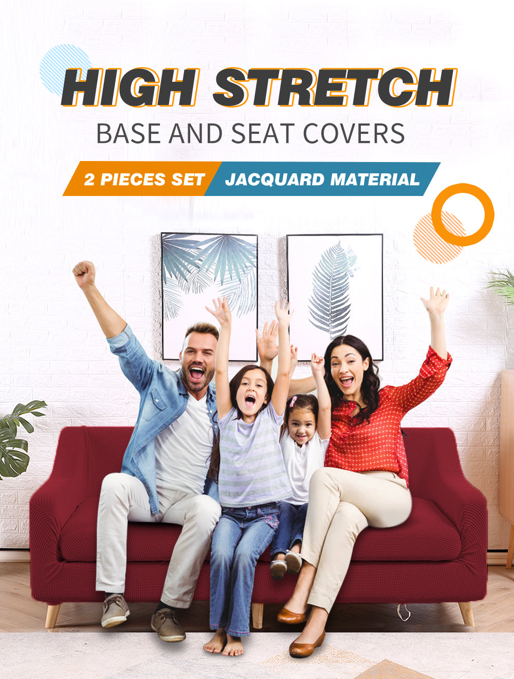DreamZ Couch Sofa Seat Covers Stretch Protectors Slipcovers 3 Seater Wine