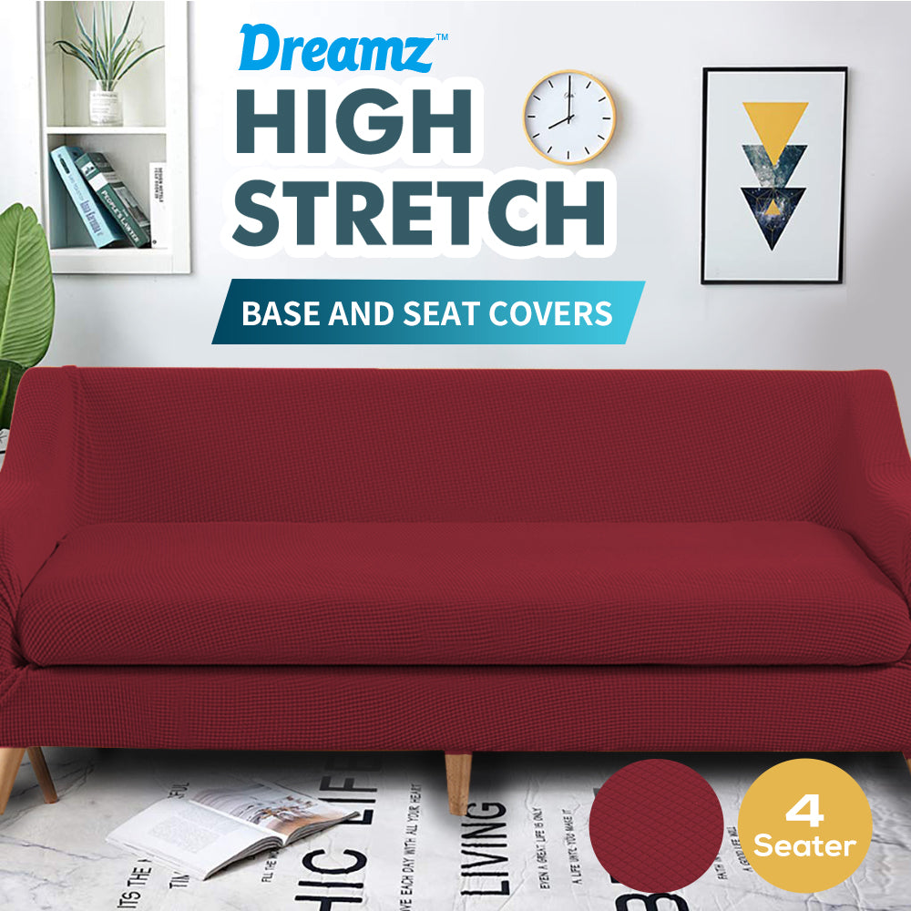 DreamZ Couch Sofa Seat Covers Stretch Protectors Slipcovers 4 Seater Wine