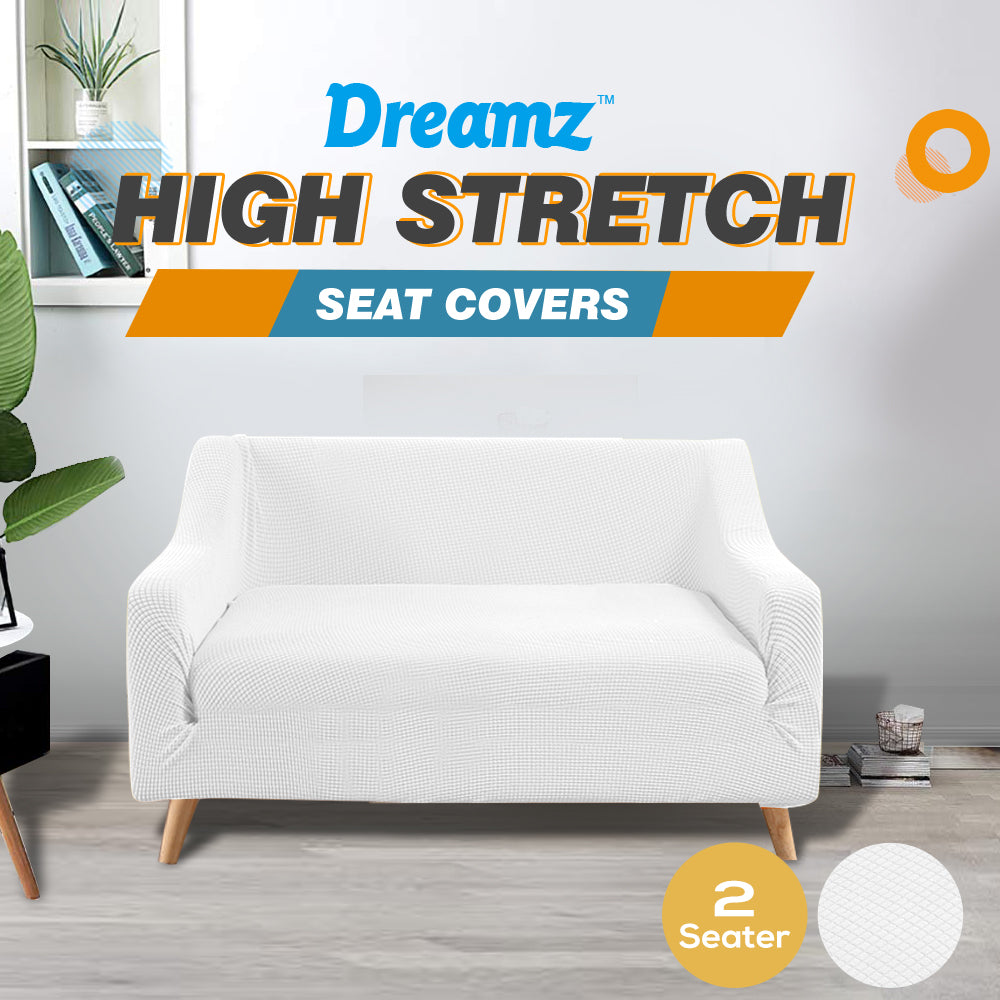 DreamZ Couch Stretch Sofa Lounge Cover Protector Slipcover 2 Seater Off White