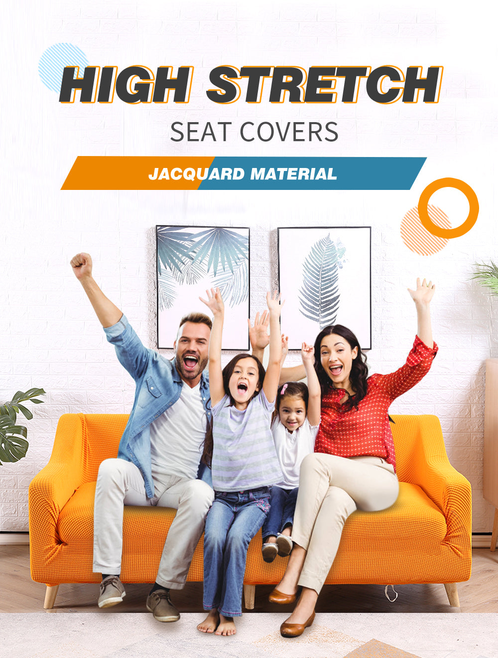 DreamZ Couch Stretch Sofa Lounge Cover Protector Slipcover 4 Seater Orange