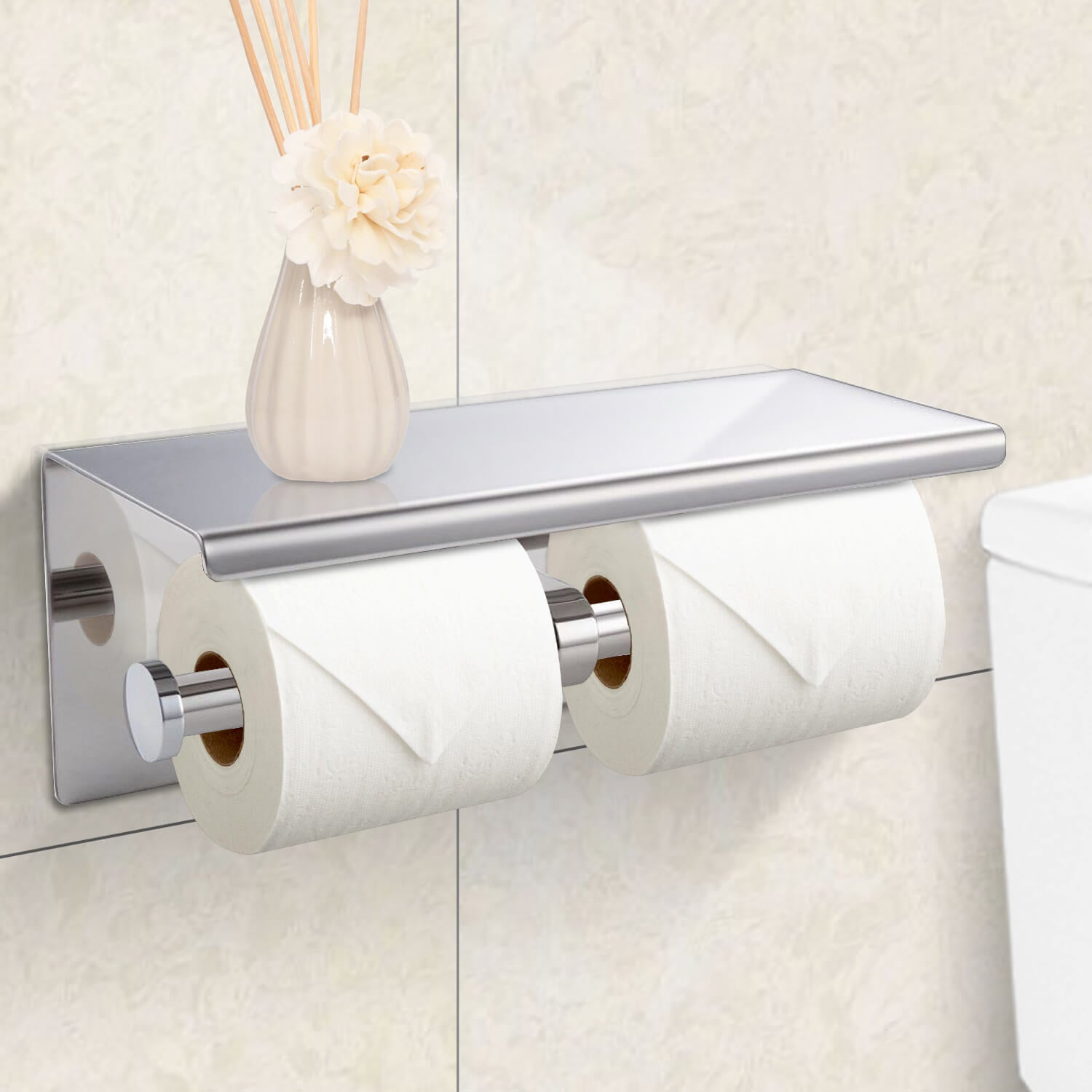 304 Stainless Steel Double Toilet Paper Rool Holder Strong Hook Bathroom