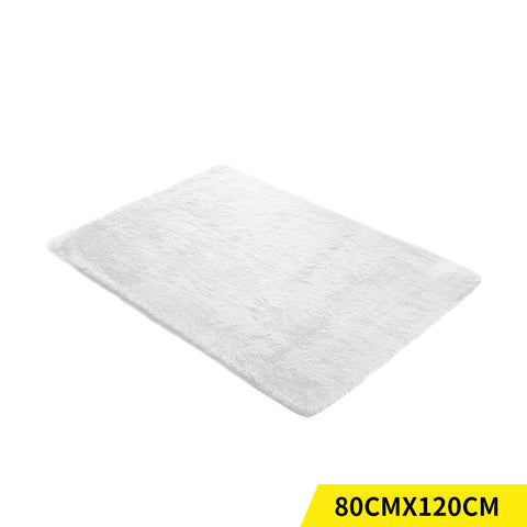 Designer Soft Shag Shaggy Floor Confetti Rug Carpet Home Decor 80x120cm White
