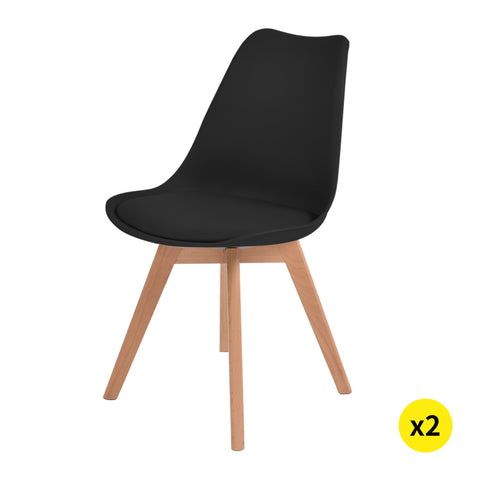 Levede 2x Retro Replica PU Leather Dining Chair Office Cafe Lounge Chairs